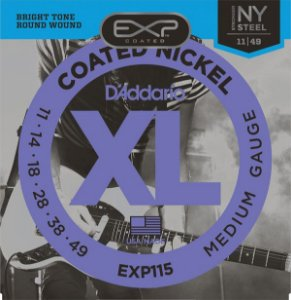 Encordoamento Guitarra  Daddario 011-049 medium Gauge EXP115 Coated Nickel