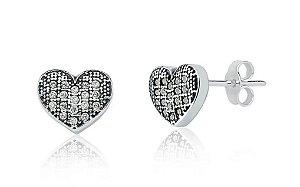 Brinco Coração com Zirconia Envelhecido Prata 925