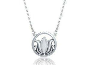 Colar Flor de Lotus Envelhecido Prata 925