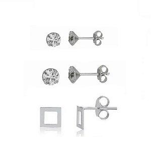 Kit Trio Pedra de Zirconia de 2mm Pedra de Zirconia 3mm Brinco Quadrado Vazado Prata 925