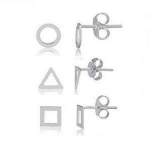 Kit Brinco Trio Círculo Vazado Triângulo Vazado Quadrado Vazado Prata 925