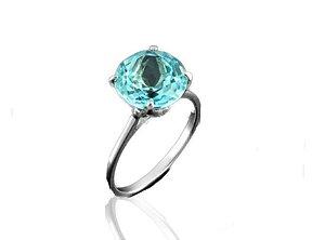 Anel Solitário Redondo Azul Cristal Prata 925
