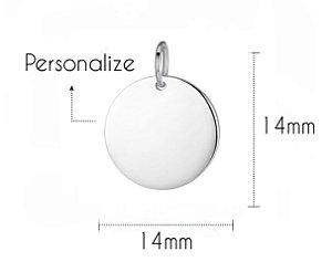 Pingente Plaquinha Redonda Personalizada 15mm Prata 925