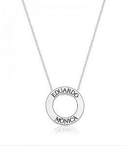 Colar Mandala Personalizado Com Dois Nomes Prata 925