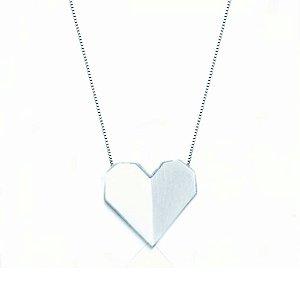 Colar Coração Origame Prata 925
