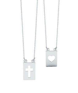 Escapulário Coração e Cruz Vazado Prata 925