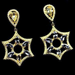 Brinco Tazanita Legitima de Prata 925 banhado a ouro amarelo