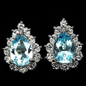 Brinco Topázio Azul Jóias Pedra Azul Natural Legítima Prata e Ouro