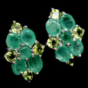 Brinco de prata Esmeralda Verde e Peridoto Pedra Verde Preciosa
