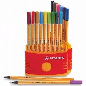 Estojo Caneta Stabilo point 88 com 20 unidades