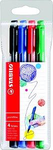 Caneta Stabilo PointMax Estojo C/4 cores 488/4