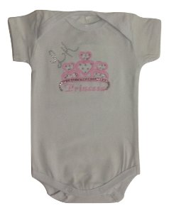 Body Bebê Menina Branco com Bordado Manga Curta