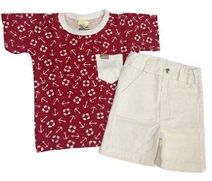 Conjunto Bebê Menino Vermelho Camiseta e Bermuda Manga Curta