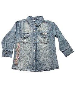 Camisa Jeans com Bordado Bebê Menina