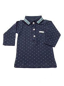Camisa Polo Bebê Menino Azul Marinho com Bolinhas Manga Comprida