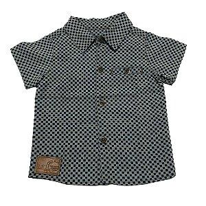 Camisa Bebê Menino Gola Azul Manga Curta