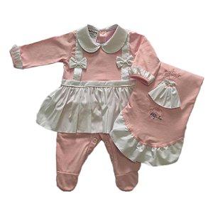 Saída de Maternidade Bebê Menina Rosa e Branco Malha