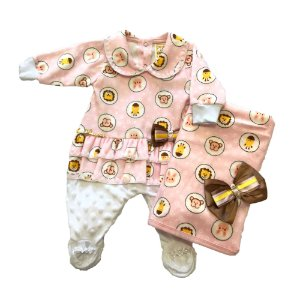 Saída de Maternidade Bebê Menina Rosa com Estampa Plush