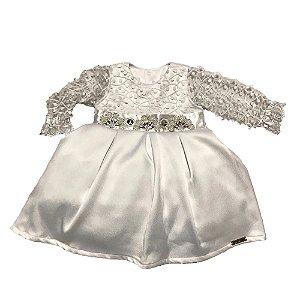Vestido Bebê Menina Branco Manga Longa