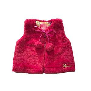 Colete de Pelos Bebê Menina Rosa