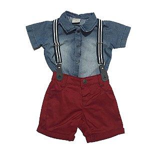 Conjunto Bebê de Camisa Jeans com Shorts e Suspensório Paraiso