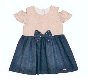 Vestido Bebê Jeans com Lurex Paraiso