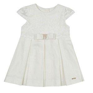 Vestido Bebê Off White com Tule Bordado Paraiso
