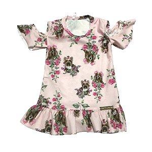 Vestido Bebê Estampado Rosa Lessa Kids