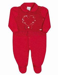 Macacão Bebê Menina Vermelho Malha e Tricot Paraiso
