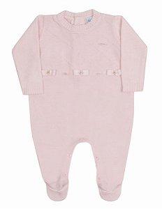 Macacão Bebê Menina Rosa Tricot Paraiso