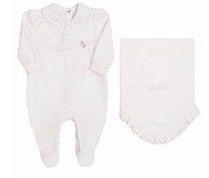 Saída de Maternidade Bebê Menina Malha Off White com Tule Bordado Paraiso