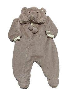 Macacão Bebê Menina Plush Lilás Urso Lessa Kids