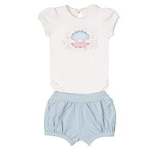 Conjunto Bebê Menina Com Body Bordado e Shorts Paraíso