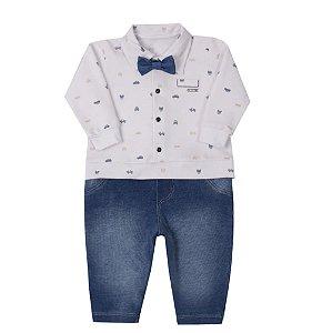 Macacão Bebê Menino Malha Piquet e Denim Jeans Paraíso