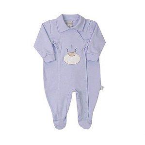 Macacão Bebê Menino Suedine Azul Urso Paraíso