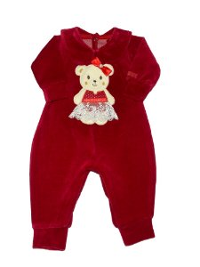 Macacão Bebê Menina em Plush Vermelho Lessa Kids