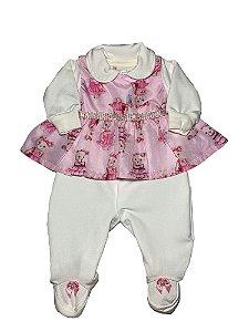 Macacão Bebê Menina com Vestido Rosa Lessa Kids