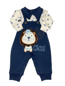 Macacão Bebê Menino Suedine Azul Marinho Lessa Kids