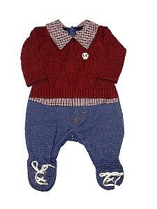 Macacão Bebê Menino Jeans com Tricot Lessa Kids