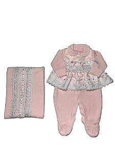 Saída de Maternidade Menina em Plush com Vestido Rosa Lessa Kids