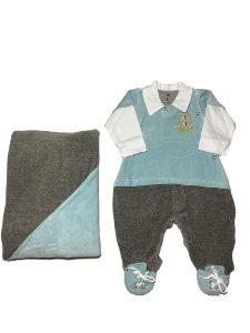 Saída de Maternidade Menino em Plush Cinza e Azul Lessa Kids
