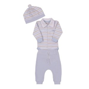 Conjunto Bebê Menino com Body Calça e Touca Azul Claro Paraíso