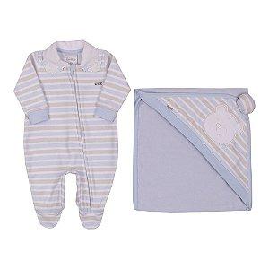 Saída de Maternidade Menino New Soft e Plush com Manta de Capuz Azul Claro Paraíso
