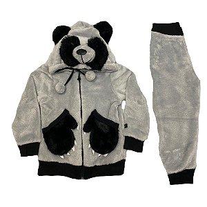 Conjunto Menino Panda Plush Cinza Lessa Kids