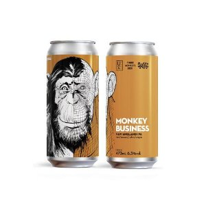 Cerveja UX Brew + Three Monkeys + Spike Brewery Monkey Business New England IPA Lata - 473ml