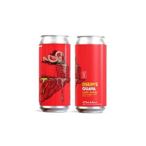 Cerveja Ux Brew Dserve Guava Pastry Sour IPA C/ Bolacha Champagne, Goiaba, Lactose e Baunilha Lata - 473ml