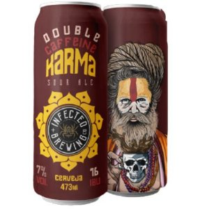 Cerveja Infected Brewing Double Caffeine Karma Imperial Sour C/ Cold Brew, Carvalho, Bourbon e Baunilha Lata - 473ml