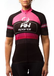 Camisa Ciclismo RH X1 Manga Curta Feminina Rosa/Preto
