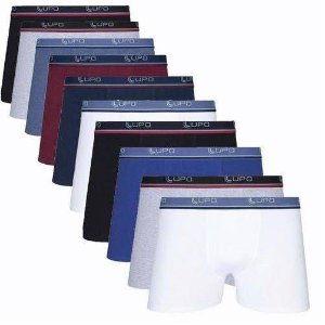 Kit Com 10 Cuecas Boxer Cotton Confort Lupo