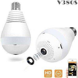 Câmera de Segurança V380 - Lâmpada Wifi Panorâmica Espiã